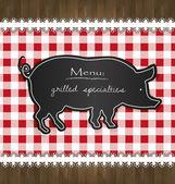 Vector blackboard menu tablecloth lace pig — Stock Vector