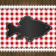 Raster blackboard menu tablecloth lace fish - Stock Photo