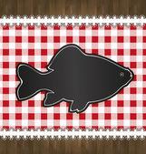 Raster blackboard menu tablecloth lace fish — Stock Photo