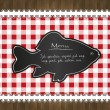 Stock Vector: Vector blackboard menu tablecloth lace fish
