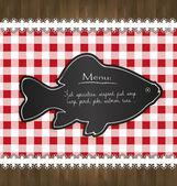 Vector blackboard menu tablecloth lace fish — Stock Vector