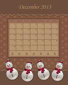 Calendar December Christmas 2013 snowman chocolate vector — Stock Vector