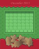 Calendar December Christmas 2013 gingerbread green red vector — Stock Vector