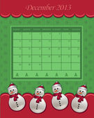 Calendar December Christmas 2013 snowman green red vector — Stock Vector