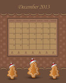 Calendar December Christmas 2013 tree chocolate vector — Stock Vector