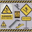 Vector sign danger watch your step warning collection — Stock Vector