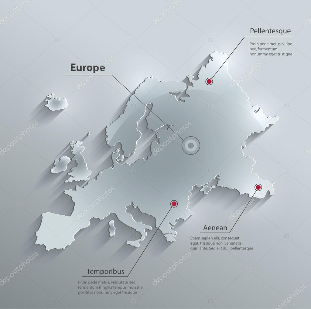 矢量欧洲地图玻璃卡纸 3d
