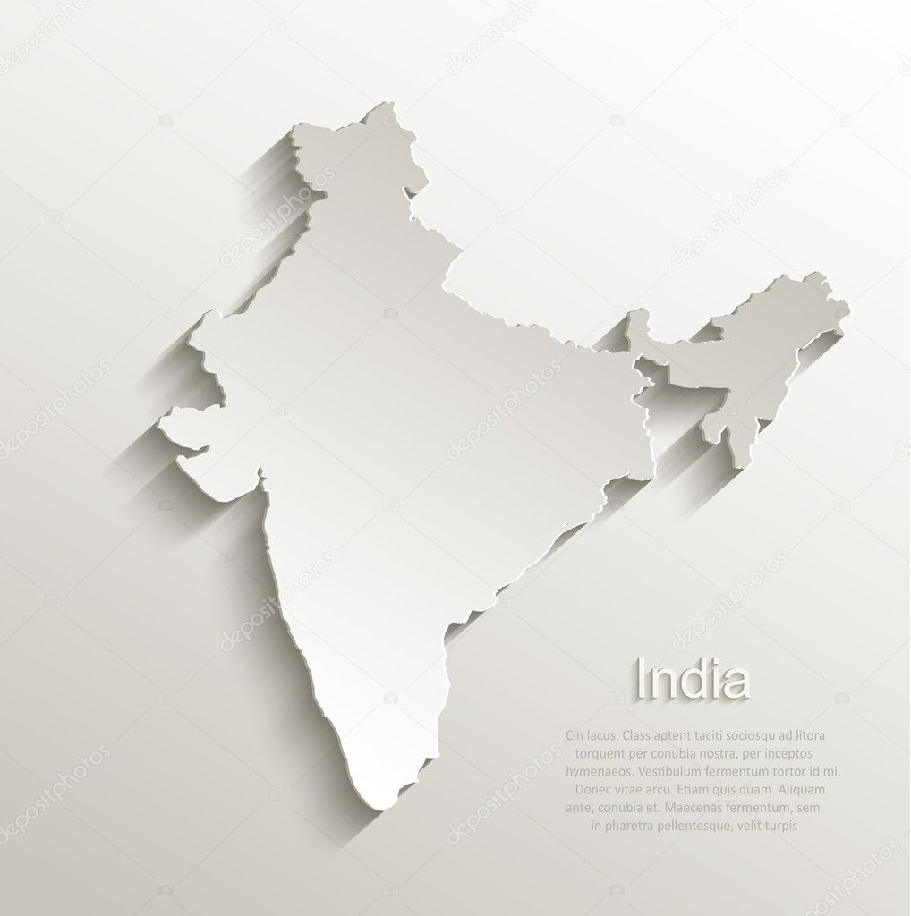 印度地图卡纸 3d 自然矢量