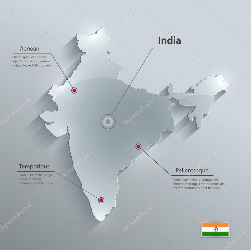 印度地图玻璃卡纸 3d 矢量