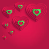 Heart happy valentine day paper 3D red green raster — Foto Stock