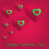 Heart happy valentine day paper 3D red green vector — Stock Vector