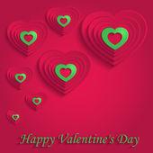 Heart happy valentine day paper 3D red green vector — Stockvektor