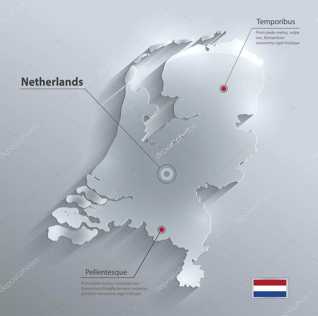 荷兰荷兰地图旗子玻璃水卡纸 3d 矢量