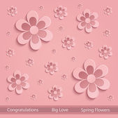 Flowers love Spring paper 3D pink vector — Stock Vector