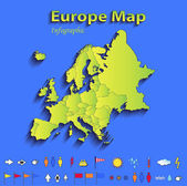 Europe map infographic political map individual states blue green card paper 3D raster — Stock Photo
