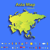 Asia map infographic political map individual states blue green card paper 3D raster — Stock Photo