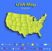 USA map infographic political map individual states blue green card paper 3D raster — Stock Photo