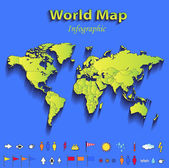 World map infographic political map individual states blue green card paper 3D raster — Stock Photo