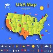 USA map infographic political map individual states blue green card paper 3D vector — Stock Vector #44295675