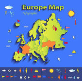 Europe map infographic political map individual states blue green card paper 3D vector — Stock Vector