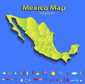 Mexico map infographic political map individual states blue green card paper 3D raster — Stock Photo