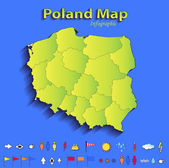 Poland map infographic political map individual states blue green card paper 3D raster — Stock Photo