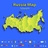 Russia map infographic political map individual states blue green card paper 3D raster — Stock Photo