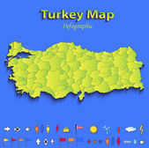 Turkey map infographic political map individual states blue green card paper 3D raster — Stock Photo