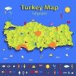 Turkey map infographic political map individual states blue green card paper 3D vector — Stock Vector #44557449