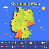 Germany map infographic political map individual states blue green card paper 3D vector — Stock Vector