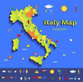 Italy map infographic political map individual states blue green card paper 3D vector — Stock Vector