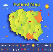 Poland map infographic political map individual states blue green card paper 3D vector — Stock Vector