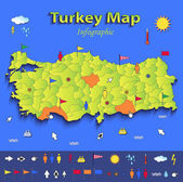 Turkey map infographic political map individual states blue green card paper 3D vector — Stock Vector