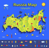 Russia map infographic political map individual states blue green card paper 3D vector — Stock Vector