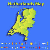 Netherlands Holland map infographic political map blue green card paper 3D raster individual states — Stock Photo