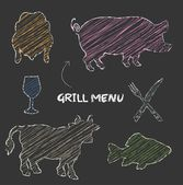 Grill menu pig cow fish chicken blackboard chalkboard color raster — Stock Photo