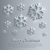 Wesołych świąt bożego narodzenia śnieżynka szkła karty papieru 3d niebieski wektor płatek — Wektor stockowy