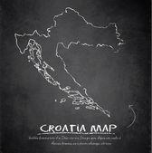 Croatia map blackboard chalkboard vector — Vettoriale Stock
