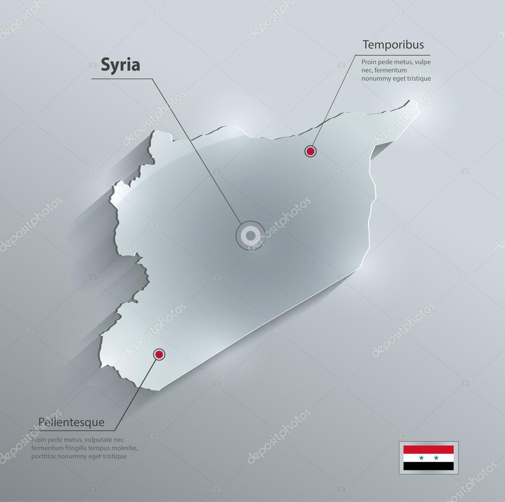 叙利亚地图标志玻璃卡纸 3d 矢量