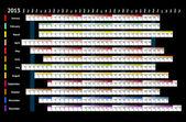 Noir linéaire calendrier 2013 — Vecteur
