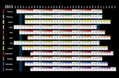 Siyah doğrusal takvim 2013 — Stok Vektör
