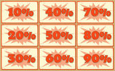 Set of labels with sale percents — Stock Vector