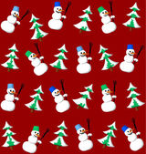 Snowman and fir seamless pattern — Stock Vector