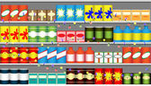 Supermarket shelves with garlands — Stock Vector