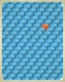 Cartão envelhecido com padrão de cubos — Vetor de Stock