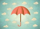 Carta invecchiato con ombrello — Vettoriale Stock