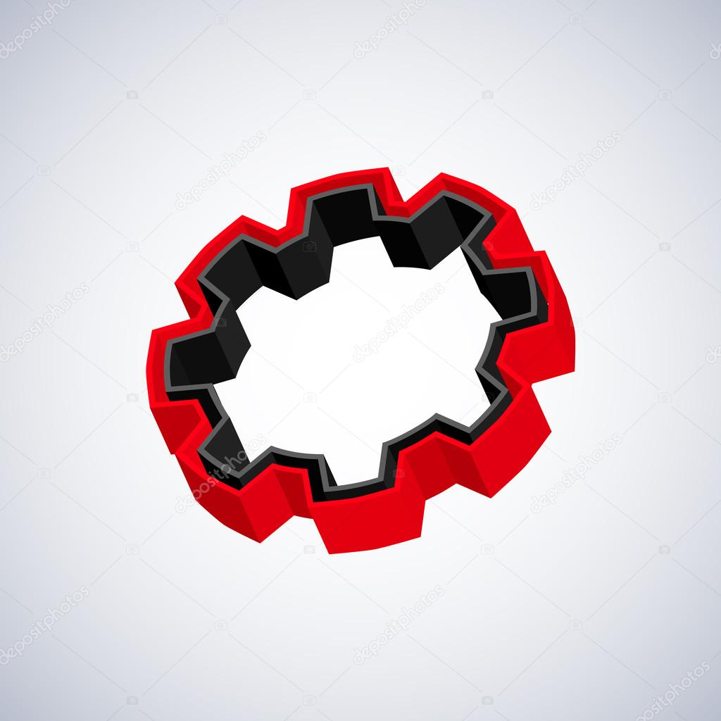 Red and black 3D gear on white background — Stock Vector #14075530