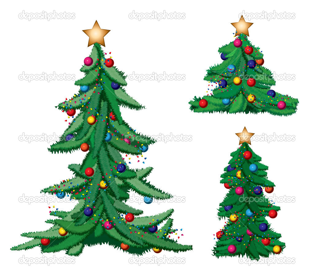 Set of ornate Christmas trees with stars — Stock Vector #14390051