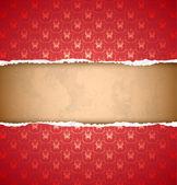 Torn red ornamental wallpaper — Stock Vector