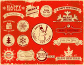 Set of Christmas vintage labels — Stock Vector
